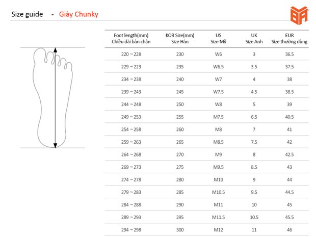 Bảng size giày Chunky chuẩn của MLB