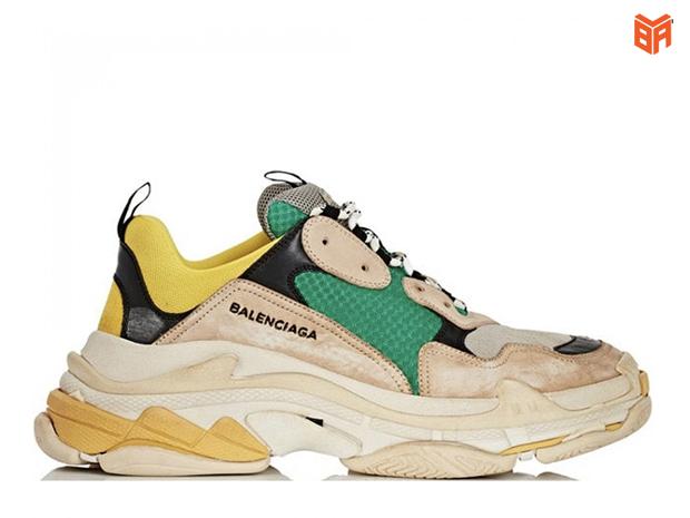 Giày Balenciaga nữ màu vàng xanh Triple S