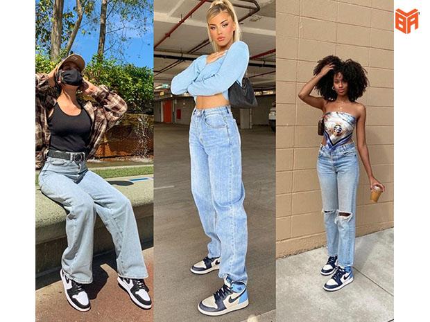 Jordan cổ cao cùng quần jeans và áo croptop