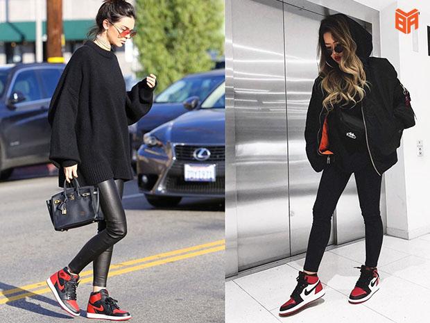 Jordan cổ cao kết hợp với quần da hoặc legging