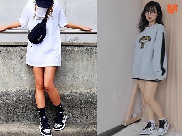 Phối giày Jordan cổ cao phong cách giấu quần