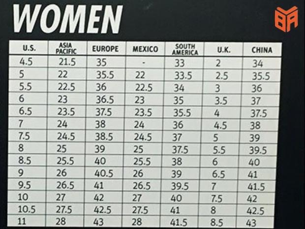 Bảng đo size giày nữ chuẩn của Nike