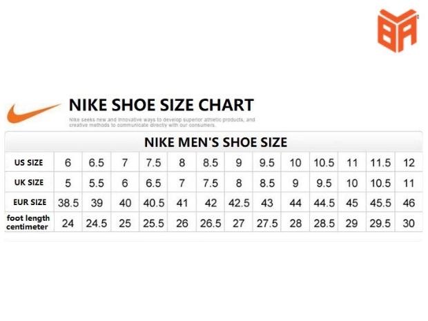 Bảng size giày nam chuẩn của Nike