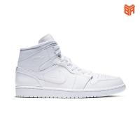 Giày Nike Jordan 1 Mid Triple White/Trắng (Rep1:1)