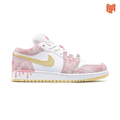 Giày Nike Air Jordan 1 Low Paint Drip Hồng Loang (Rep +)